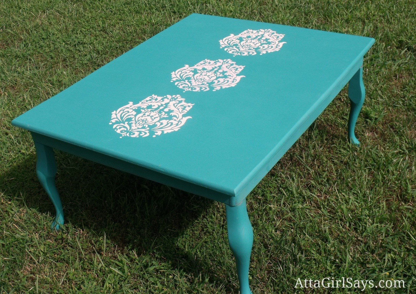 Stenciled coffee table via Atta Girl Says