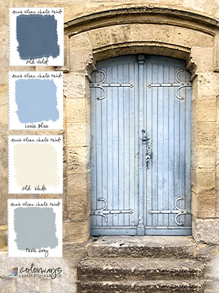 Door in Saint-Emilion, France inspires an Annie Sloan Chalk Paint® color palette. Old Violet, Louis Blue, Paris Grey, Old White. (photo courtesy John Darr) via Colorways
