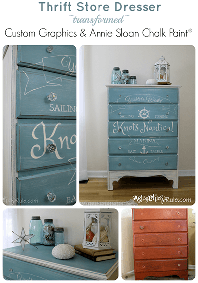 Chalk painted nautical dresser via Artsy Chicks