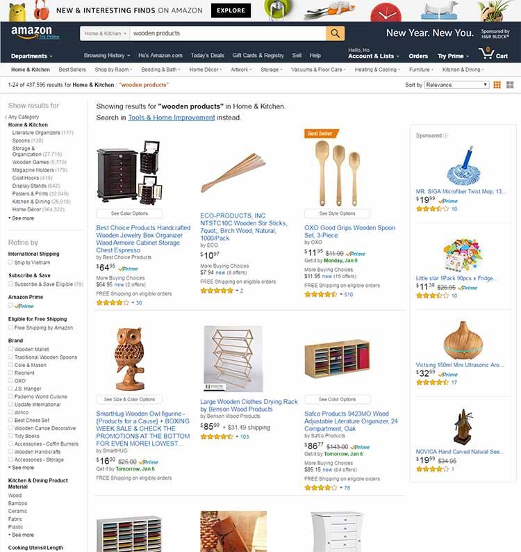 Wooden products on Amazon