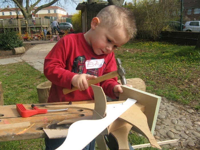 Woodworking with young children via Filton Avenue Nursery School and Children's Centre Art Projects