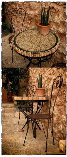 Table tops made from wine corks