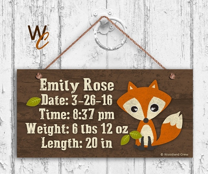 Baby Birth Stats Wood Sign via Etsy