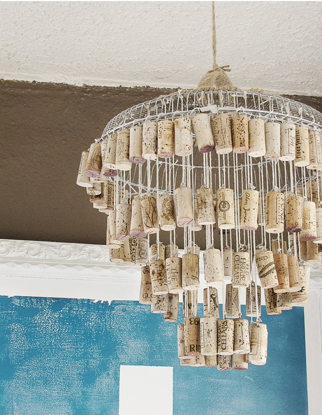 DIY Wine Cork Chandelier
