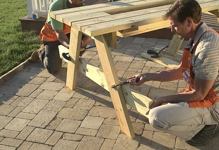 CLAMP BENCHES TO SUPPORTS via THE HOME DEPOT