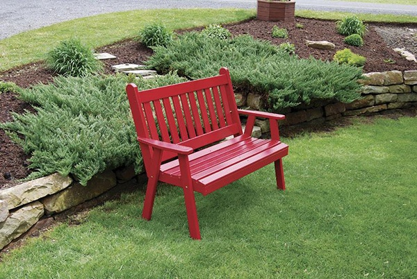 Amish Made Pine Wood Traditional English Garden Bench - Painted via DutchCrafters
