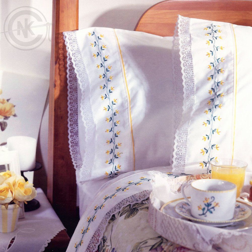 Yellow Blossoms Sheets Free Embroidery Pattern via NeedleKnowledge
